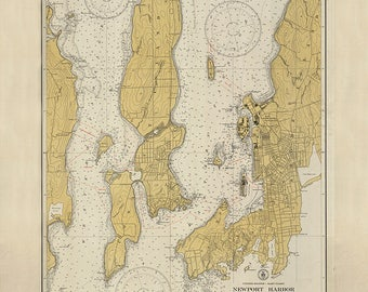 1931 Nautical Map of Newport Harbor and Narragansett Bay Rhode Island