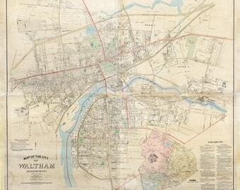 1886 Map of Waltham Massachusetts