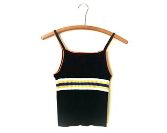Rad 90s grunge striped spaghetti strap ribbed sweater crop top