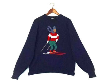 Vintage ski hipster acrylic sweater