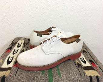 deadstock 90's vintage bass white bucks made in usa size 10