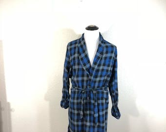 60's vintage 100% rayon robe shadow pcaid size M