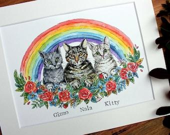 Pet portrait illustration, Custom pet illustration,  Cat illustration, Dog illustration, Dog portrait, Cat owner's gift, Dog owner's gift