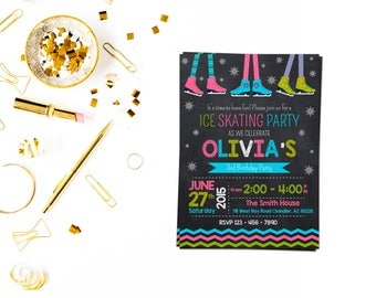 Ice Skating Invitation,Ice Rink Invitation, Ice Skating Invitation, White Ice Skate, Snow flake invite, Ice Skating Birthday Party