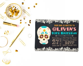 Sugar Skull Party Invitations 4,Sugar Skull Invitation,day of the Dead Invitation,Sugar Skull Birthday Invitation,bridal shower