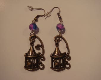 Bird in a cage vintage dangling earrings