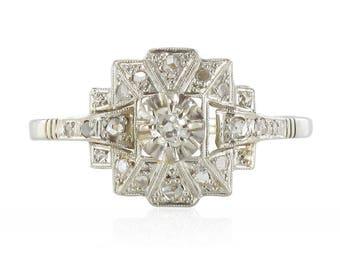 Bague art déco diamants Or blanc 18K  Platine Art déco