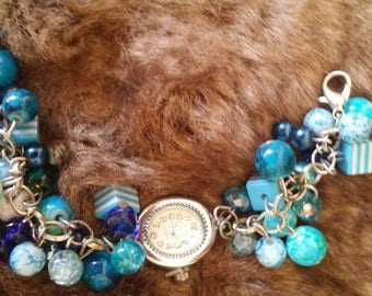 Handmade blue beaded watch bracelet