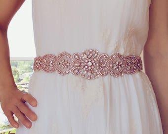 Rose gold Bridal Sash,Wedding Dress Sash Belt, Rhinestone Sash, Rhinestone Bridal Bridesmaid Sash Belt, Wedding dress sash belt
