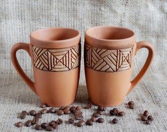 Set of 2 handmade pottery coffee mugs Clay mug Coffee time Stoneware mug Hostess gift Tea time coffee cup Gift coffee mug mom and dad