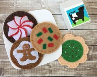 felt Christmas cookies, play food cookies, felt cookies, holiday cookie set, felt food cookies