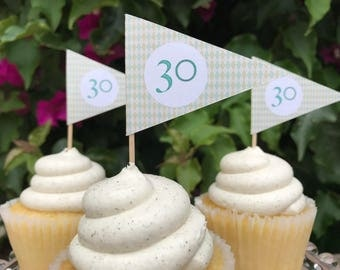 Golf Flag Cupcake Toppers- Argyle Flag Cupcake Toppers-  Golfing Party Decorations - Pennant Cupcake Toppers - Number Cupcake Toppers