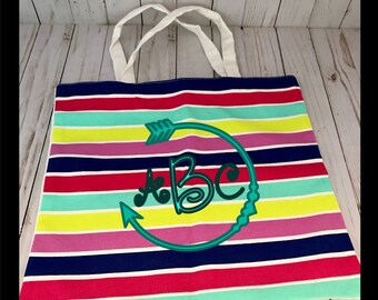 Striped canvas bag monogrammed, personalized, teacher gift