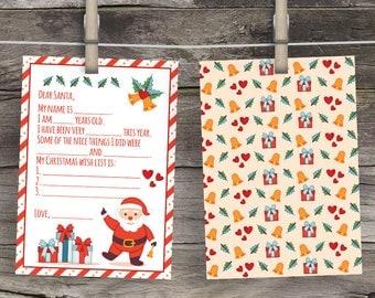 Christmas Wishlist, Dear Santa Letter, North Pole Letters, Christmas Wish List, Christmas letter DIY, Keepsake Children's Letter to Santa,