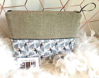 Personalized toiletry bag in natural linen and faux leather, Toucans theme