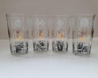 Vintage Hazel-Atlas Nautical Themes Highball Glasses, Set of 4, Black, Gold, White, Lighthouse, Seagull, Sailboat, Anchor
