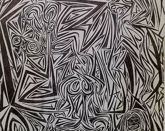 Original Abstract Art, Original Modern Drawing, Abstract Drawing,
