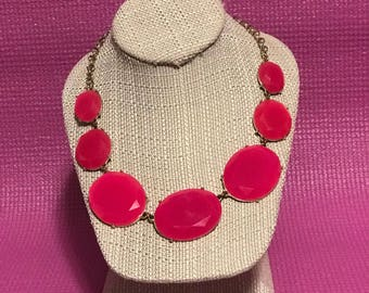 Pink chunky statement necklace