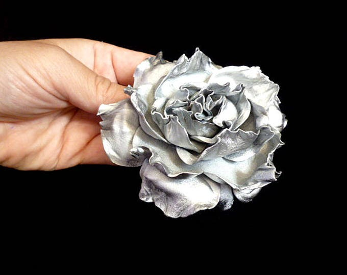 Silver Rose Hair Clip Wedding Bidal Rose Hair band accessories handmade Flower Hair Clip Rose Floral Hair Clip Baby girl hairpin hairpiece
