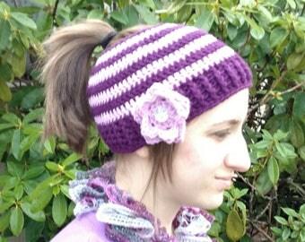Ponytail Hat Pattern, Crochet Pattern, Messy Bun Pattern, Crochet Hat Pattern, Crochet Ponytail Hat, Messy Bun Hat, Crochet Bun Hat