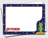 Stationery for Kids / Alien / Stationery / Note Cards / Stationary / Notecards / Personalized Stationery / Thank You Card (Item #1702-031FL)