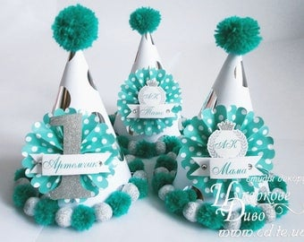 1st birthday party hat Turquoise silver Boys paper hat - first birthday hat - party hat headband - 1st Birthday outfit boy - Photo Prop boy