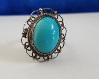 R109 Sterling Silver Ring with Blue Stone