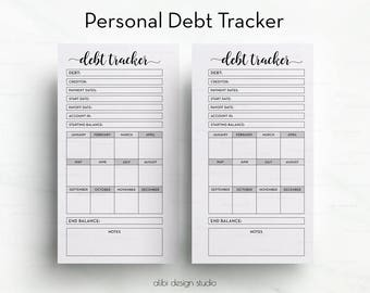 Debt Tracker, Personal Planner Inserts, Budget Planner, Money Organizer, Financial Planner, Debt Planner, Personal Planner, Debt Printable