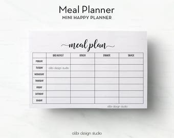 Meal Planner, MINI Happy Planner, Meal planning, Weekly Meal Planner, Printable Planner, MINI mambi, Meal Tracker, Happy Planner Inserts