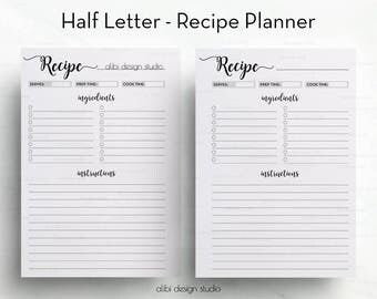 Recipe Planner, Recipe Book, Half Letter, Recipe Journal, Recipe Binder, Recipe Cards, Half Letter Planner, A5 Filofax, Printable Planner