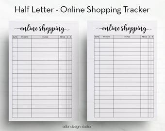 Online Shopping Tracker, Half Letter, Shopping Tracker, Printable Planner, Half Size, Online Purchases, To Do List, Online Order, A5 Filofax