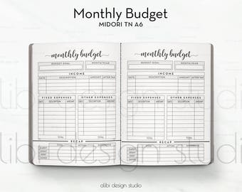 A6 TN, Monthly Budget, Travelers Notebook, Budget Planner, Income Tracker, Expense Tracker, TN Inserts, Midori, Bullet Journal