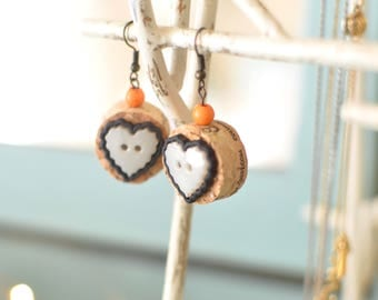 Upcycled Cork Earrings - Metal Framed White Heart Button Earrings - Handmade Recycled Jewelry