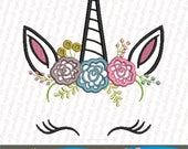 Unicorn face applique embroidery design sewing brother emb hus jef pes dst with resizer-converter software included