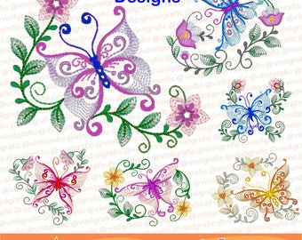Butterfly Ornaments set of 6 embroidery designs sewing brother emb hus jef pes dst with resizer-converter software included