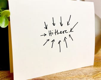 Hi there, handmade hello card, Hand Lettered Thank You Card Set, Bulk Note Cards hello,