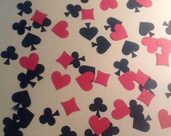 Diamond, clover, spade, heart table confetti