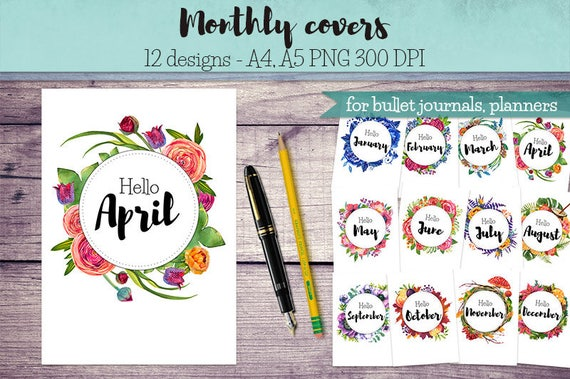 Classroom Design Journal Articles : Monthly covers for bullet journals and planners month entry