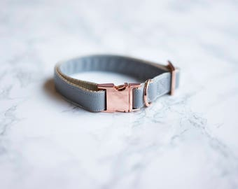 Vegan Faux Leather Collar | Rose Gold Hardware | Dog