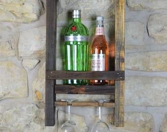 Rustic wooden wine rack, gin station, handmade, reclaimed wood