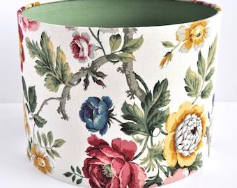 Vintage Floral Lampshade In Vintage Sanderson 'Hykenham' Fabric.  shade drum shade pendant shade