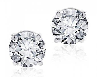0.97 cttw Round Brilliant Diamond Screw Back Studs F-G/VS2 14K White Gold