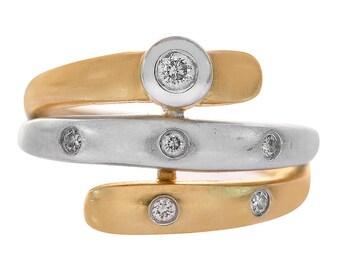0.10 Carat Round Cut Diamond Spiral Ring 14K Two Tone Gold