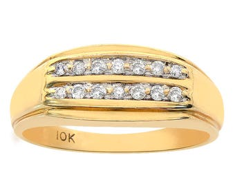 0.20 Carat Diamond Men's Diamond Ring 10K Yellow Gold