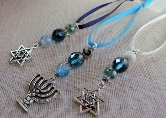 Hanukkah ornaments - gift bag add on - teal crystals - hanging home decor - star of David - set of 3 - Menorah Jewish design - Lizporiginals