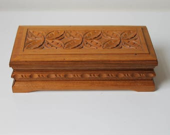 Wood Box, Wooden Case, Vintage Carved Box