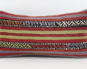 Decorative Kilim Pillow 10x20 Naturel Kilim Pillow Turkish Kilim Pillow Lumbar Kilim Pillow Home Decor Cushion Cover SP2550-1059
