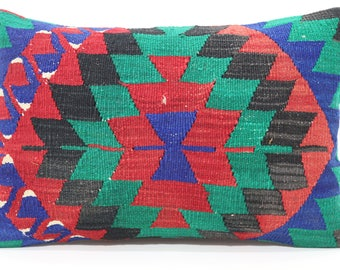 Geometric Kilim Pillow Sofa Pillow 16x24 Multicolor Aztec Kilim Pillow Turkish Kilim Pillow Cushion Cover SP4060-621