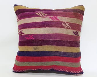 20x20 Striped Kilim Pillow Sofa Pillow 20x20 Anatolian Kilim Pillow Throw Pillow Handwover Kilim Pillow Throw Pillow SP5050-1972