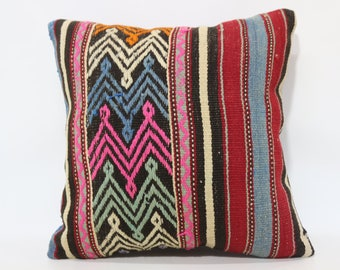 Embroidered Kilim Pillow Sofa Pillow 20x20 Handwoven Naturel Kilim Pillow Sofa Pillow Decorative Kilim Pillow Cushion Cover SP5050-2173